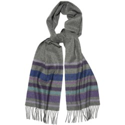 Moon Solid Heather Scarf - Cashmere in Grey Stripe