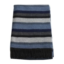 Moon Striped Throw Blanket - Lambswool in Blue/Grey/Black - Closeouts
