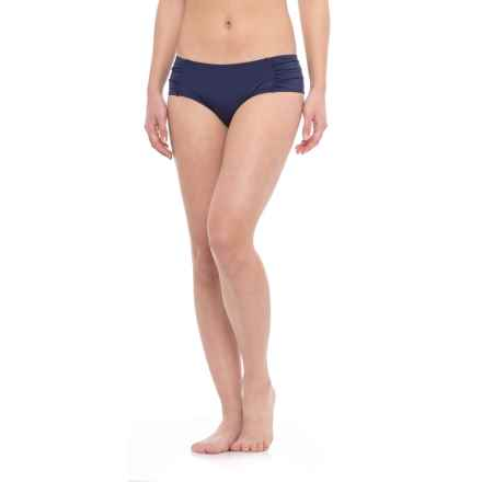 Moontide Ruched Boy-Cut Bikini Bottoms (For Women) in Navy - Closeouts