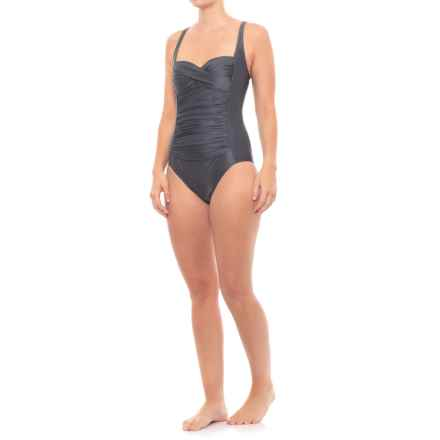08a492e5fe Moontide Twist One-Piece Swimsuit (For Women) in Metallic Grey - Closeouts