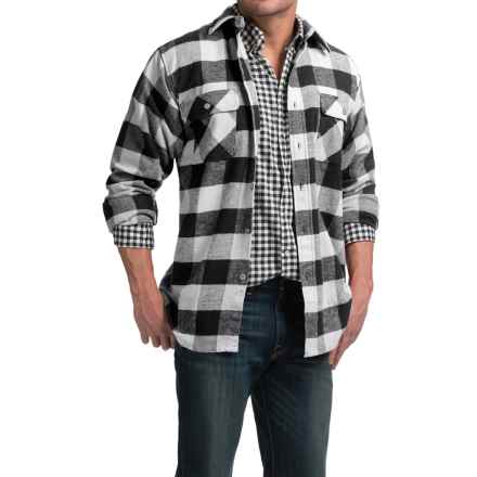 Moose Creek Brawny Plaid Flannel Shirt - Long Sleeve (For Tall Men) in Coal - Closeouts