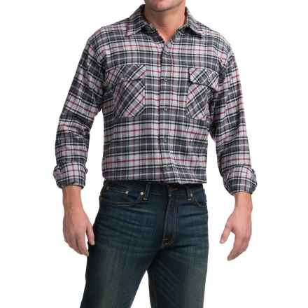 Moose Creek Brawny Plaid Flannel Shirt - Long Sleeve (For Tall Men) in Grey - Closeouts