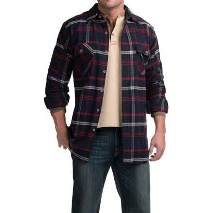 Moose Creek Brawny Plaid Flannel Shirt - Long Sleeve (For Tall Men) in Navy - Closeouts
