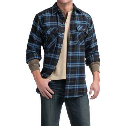 Moose Creek Brawny Plaid Flannel Shirt - Long Sleeve (For Tall Men) in Ocean - Closeouts