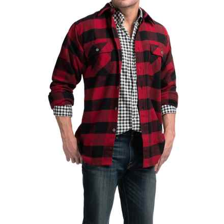 Moose Creek Brawny Plaid Flannel Shirt - Long Sleeve (For Tall Men) in Red - Closeouts
