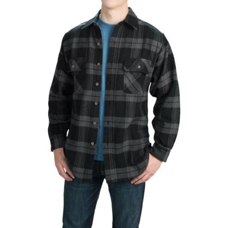 Moose Creek Brawny Plaid Shirt - 9 oz. Flannel, Long Sleeve (For Men) in Black/Grey Classic Plaid