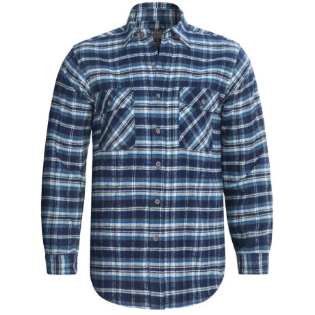 Moose Creek Brawny Plaid Shirt - 9 oz. Flannel, Long Sleeve (For Men) in Blue