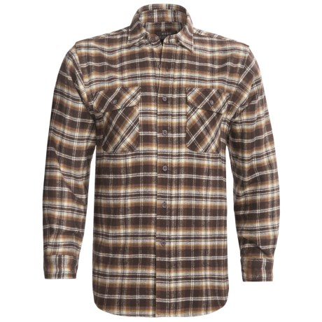 Moose Creek Brawny Plaid Shirt - 9 oz. Flannel, Long Sleeve (For Men) in Chocolate