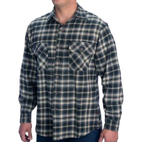 Moose Creek Brawny Plaid Shirt - 9 oz. Flannel, Long Sleeve (For Men) in Limo