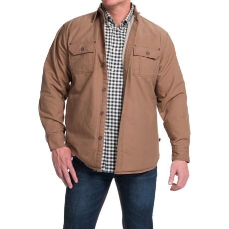 Moose Creek Canvas Shirt Jacket - Fleece Lined (For Men) in Walnut