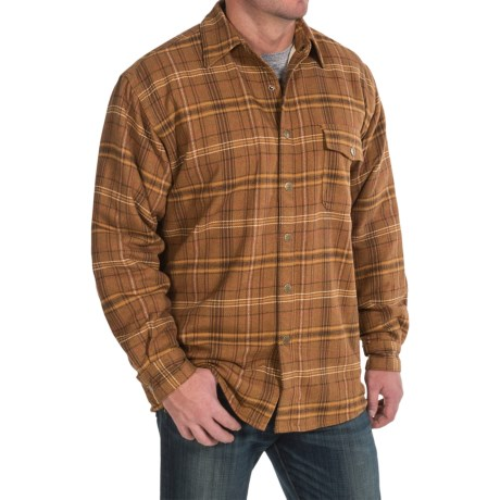 Moose Creek Chinook Twisted Flannel Shirt Jacket - Snap Front (For Men) in Brown