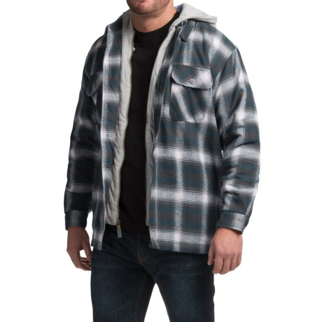 Moose Creek Dakota Flannel Shirt Jacket - Hooded (For Men) in Navy