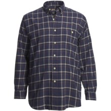 Moose Creek Grizzly Flannel Shirt - Long Sleeve (For Big and Tall Men) in Navy - Closeouts