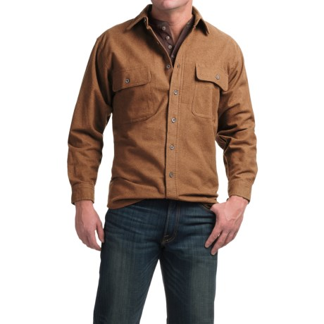 Moose Creek Heather Chamois Shirt - 9 oz., Long Sleeve (For Men) in Earth