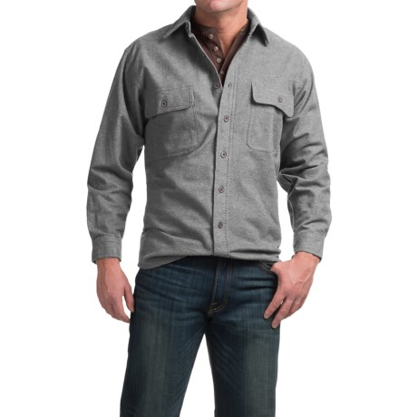 Moose Creek Heather Chamois Shirt - 9 oz., Long Sleeve (For Men) in Khaki