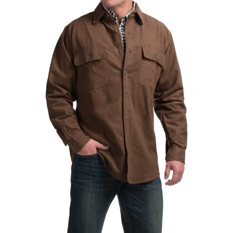 Moose Creek Heather Chamois Shirt - Long Sleeve (For Tall Men) in Brown