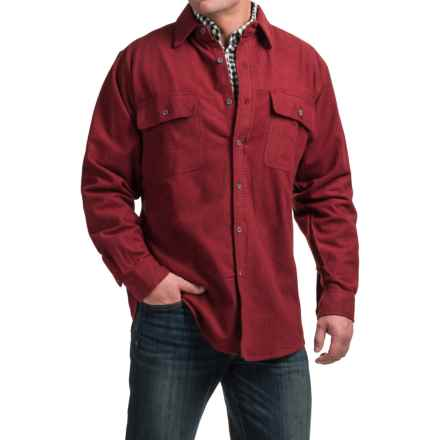 Moose Creek Heather Chamois Shirt - Long Sleeve (For Tall Men) in Burgundy - Closeouts