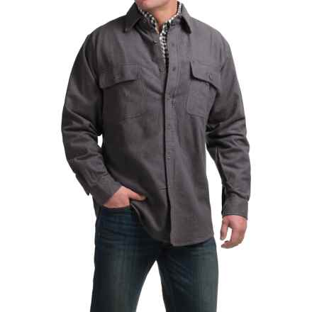 Moose Creek Heather Chamois Shirt - Long Sleeve (For Tall Men) in Coal - Closeouts