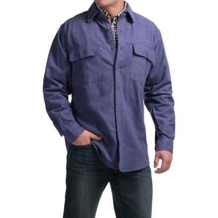 Moose Creek Heather Chamois Shirt - Long Sleeve (For Tall Men) in Indigo - Closeouts