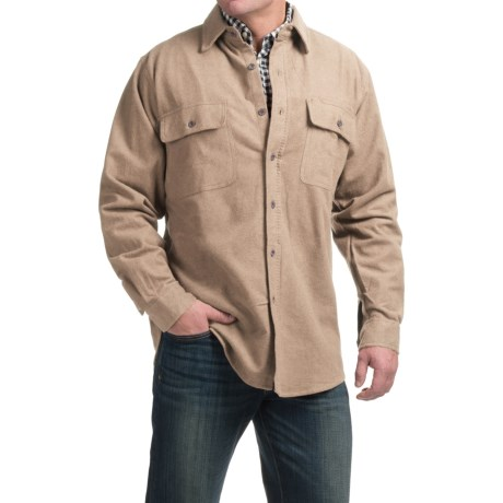 Moose Creek Heather Chamois Shirt - Long Sleeve (For Tall Men) in Khaki