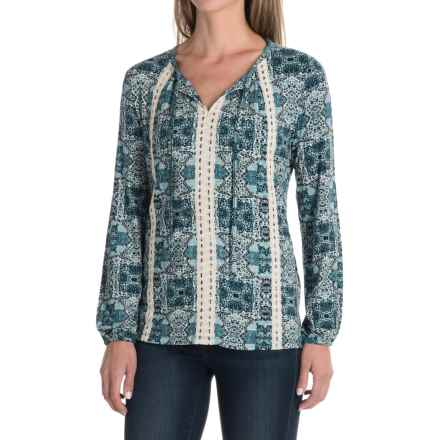 Mosaic V-Neck Shirt - Rayon, Long Sleeve (For Women) in Blue - 2nds