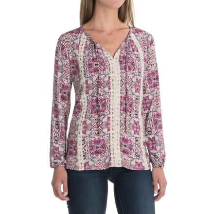 Mosaic V-Neck Shirt - Rayon, Long Sleeve (For Women) in Fuschia - 2nds