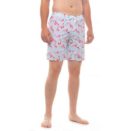 ac22f37959 Mosmann Miami Flamingo Print Swim Trunks (For Men) in Light Blue - Closeouts