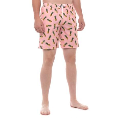 Mosmann Pineapple Print Swim Trunks (For Men) in Blush