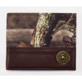 Mossy Oak Bi-Fold Leather and Fabric Wallet (For Men)