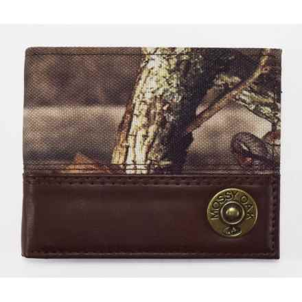 Mossy Oak Bi-Fold Leather and Fabric Wallet (For Men) in Brown/Camo - Closeouts