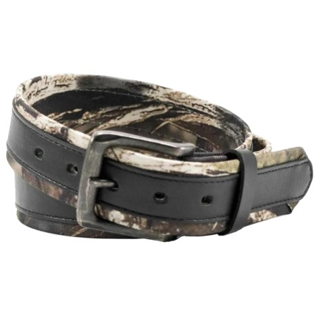 Mossy Oak Break-Up® Belt - Stitched Overlay (For Men) in Camo/Black