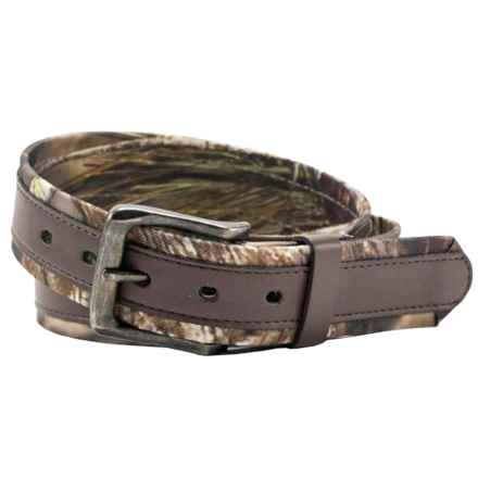 Mossy Oak Break-Up® Belt - Stitched Overlay (For Men) in Camo/Brown - Closeouts