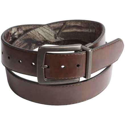 Mossy Oak Canvas and Leather Belt - Reversible (For Men) in Camo/Brown - Closeouts