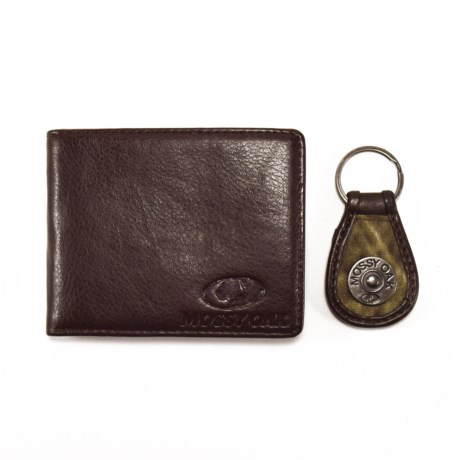 Mossy Oak Embossed Bi-Fold Wallet and Engraved Key Chain (For Men) in Brown