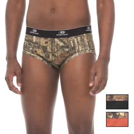 Mossy Oak Stretch Cotton Briefs - 3-Pack (For Men) in Black/Rusty Bronze/Camo - Closeouts