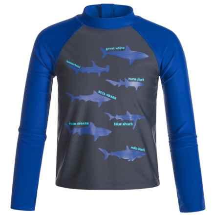 Mott 50 50 Mini Max Swim Shirt - UPF 50, Long Sleeve (For Infants Boys) in Shark/ Endless Blue - Closeouts