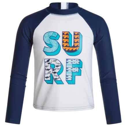 Mott 50 50 Mini Max Swim Shirt - UPF 50, Long Sleeve (For Infants Boys) in White/Navy - Closeouts