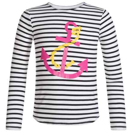 Mott 50 Mini Michelle T-Shirt - UPF 50, Crew Neck, Long Sleeve (For Big Girls) in White/Navy Stripe W/Graphic - Closeouts