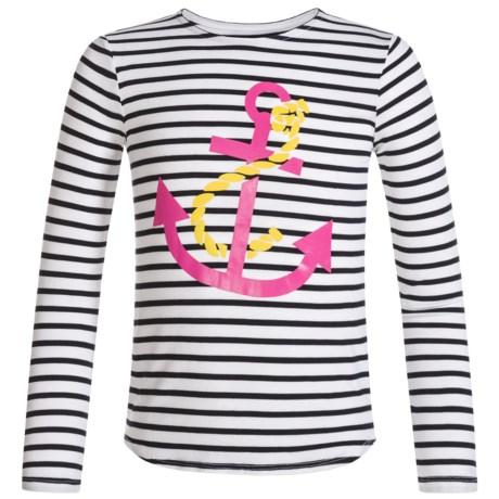Mott 50 Mini Michelle T-Shirt - UPF 50+, Long Sleeve (For Toddler Girls) in White/Navy Stripe W/Graphic