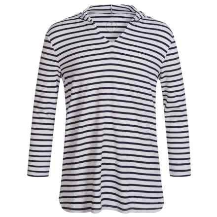 Mott 50 Mini Nancy Swim Cover-Up Hoodie Shirt - UPF 50, Long Sleeve (For Toddler Girls) in White/Navy Stripe - Closeouts