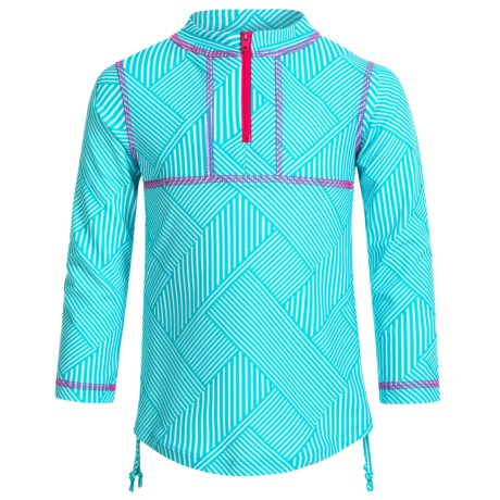 Mott 50 Mini Sonja Rash Guard - UPF 50, Zip Neck, Long Sleeve (For Toddlers Girls) in Caribbean Grid