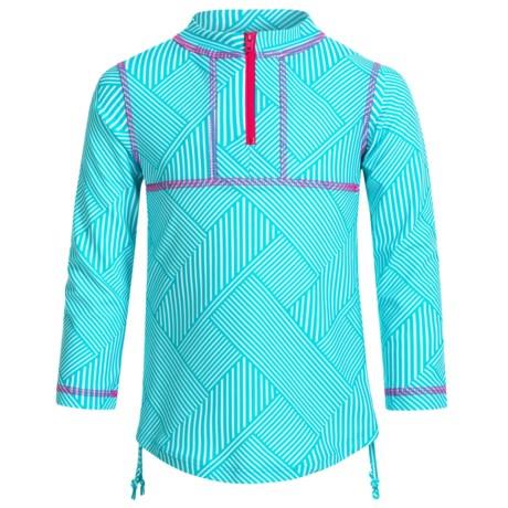 Mott 50 Mini Sonja Swim Dress - UPF 50+, Zip Neck, Long Sleeve (For Big Girls) in Caribbean Grid