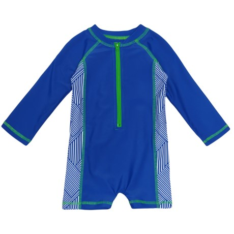 Mott 50 Mini Taylor Sunsuit - UPF 50, Zip Neck, Long Sleeve (For Infants and Toddlers) in Endless Blue/Endless Blue Grid