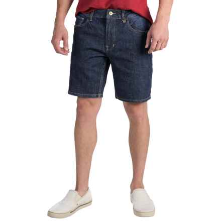 Mott & Grand Flat Front Jean Shorts - Slim Fit (For Men) in Dark Denim - Closeouts