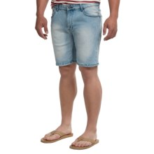 Mott & Grand Flat Front Jean Shorts - Slim Fit (For Men) in Light Denim - Closeouts