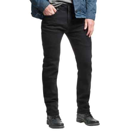 Mott & Grand Stitch Line Detail Jeans - Slim Fit  (For Men) in Black - Closeouts