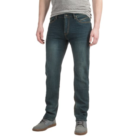 Mott & Grand Men's Washed Slim-Fit Jeans (Dark Blue)