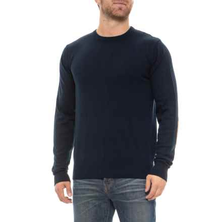 Mott & Grant Fine-Gauge Cotton Sweater with Elbow Patches - Long Sleeve (For Men) in Navy - Closeouts