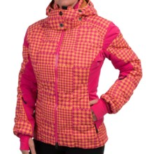 Mountain Force Grace Down Ski Jacket - 800 Fill Power (For Women) in Tartan Carnation/Cheddar - Closeouts