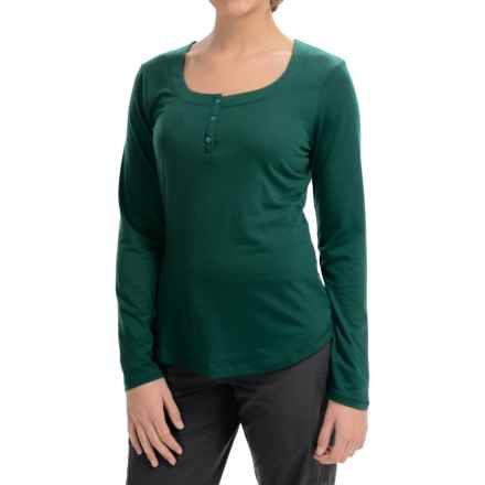 Mountain Hardware Dryspun Henley Shirt - Scoop Neck, Long Sleeve (For Women) in Botanical Garden - Closeouts